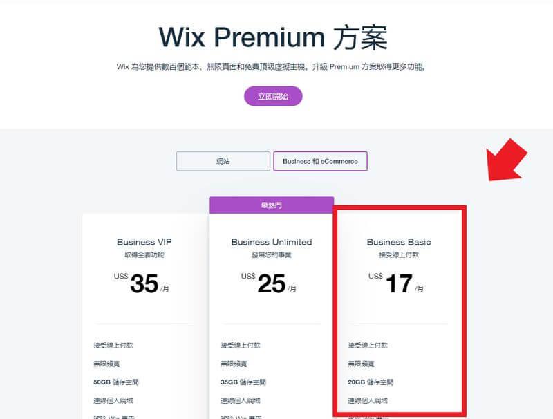 WIX電商網站的價格方案